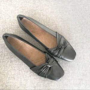CLARKS Candra Gleam Ballet Flat Black Sz 8 39 NWOT